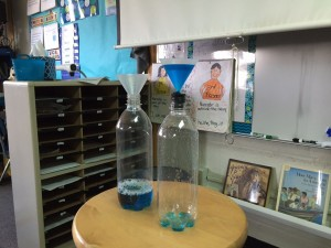 Here is a photo of our investigation about whether or not gas takes up space (has volume).